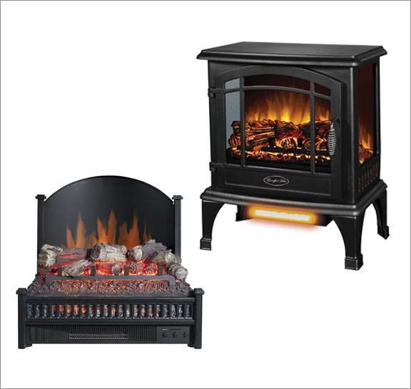 Electric fireplace and log set. Click here for electric appliance heaters